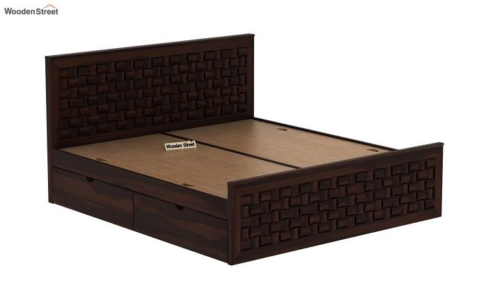 Howler Bed With Side Storage (Queen Size, Walnut Finish)-9