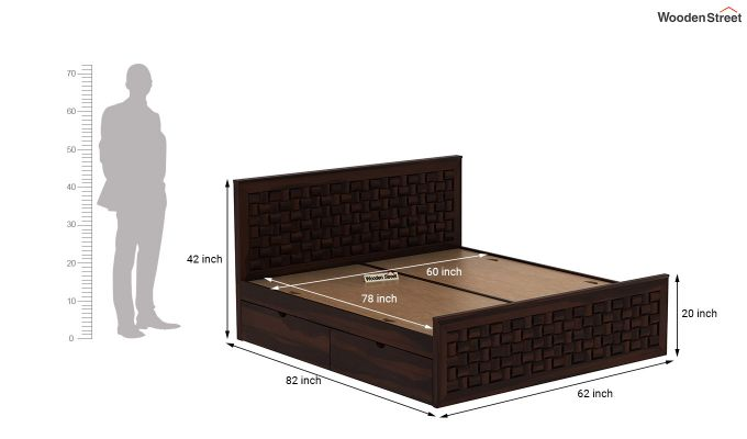 Howler Bed With Side Storage (Queen Size, Walnut Finish)-8