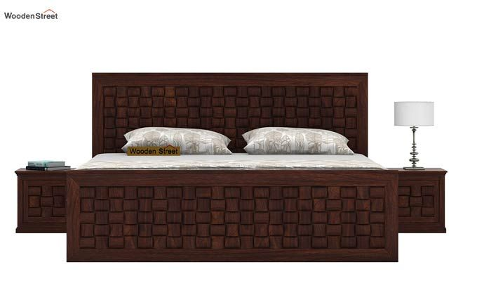 Howler Bed With Side Storage (Queen Size, Walnut Finish)-2