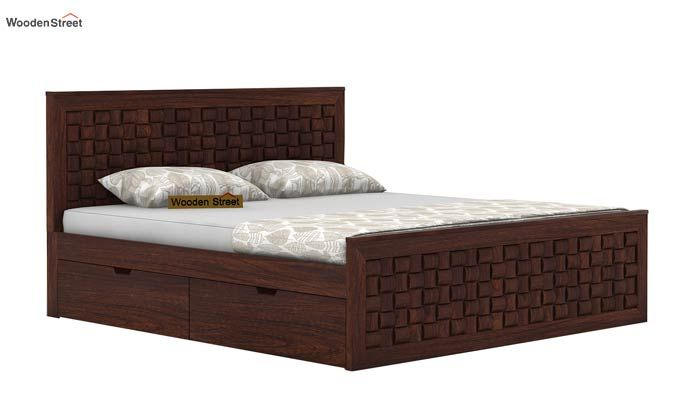 Howler Bed With Side Storage (Queen Size, Walnut Finish)-3
