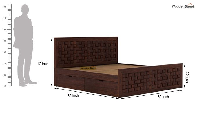 Howler Bed With Side Storage (Queen Size, Walnut Finish)-7