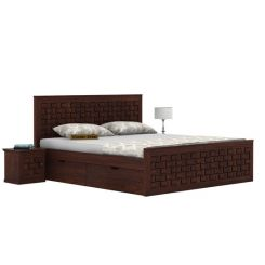 Howler Bed With Side Storage (Queen Size, Walnut Finish)