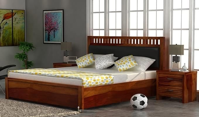 Javert Bed With Storage (Queen Size, Honey Finish)-1