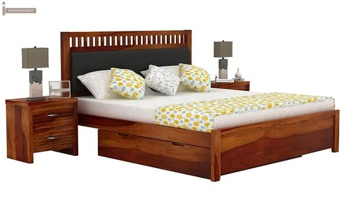 Javert Bed With Storage (Queen Size, Honey Finish)-2