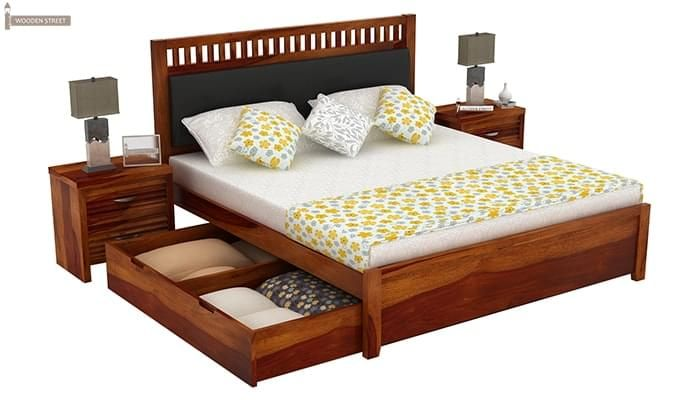 Javert Bed With Storage (Queen Size, Honey Finish)-5