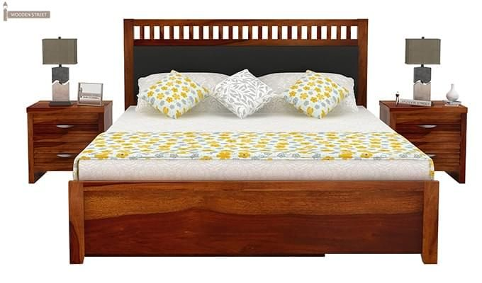 Javert Bed With Storage (Queen Size, Honey Finish)-6