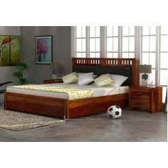 Javert Bed With Storage (Queen Size, Honey Finish)