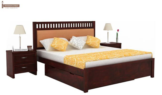 Javert Bed With Storage (Queen Size, Mahogany Finish)-1