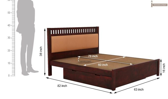 Javert Bed With Storage (Queen Size, Mahogany Finish)-5