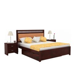 Javert Bed With Storage (Queen Size, Mahogany Finish)