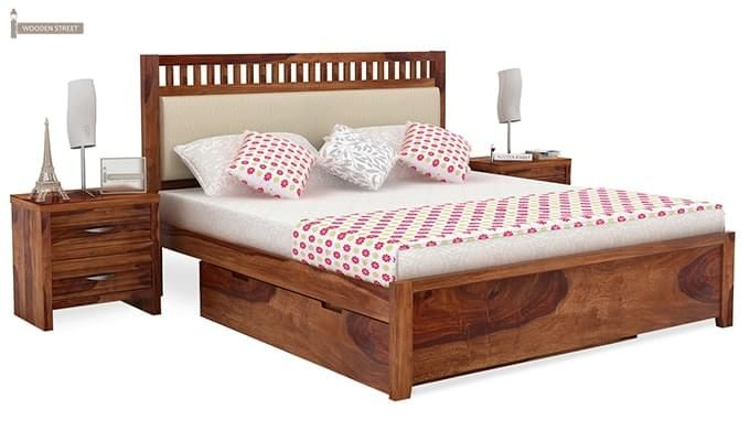 Javert Bed With Storage (King Size, Teak Finish)-1