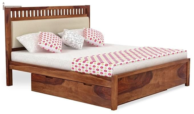 Javert Bed With Storage (King Size, Teak Finish)-2