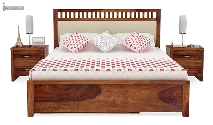 Javert Bed With Storage (King Size, Teak Finish)-3
