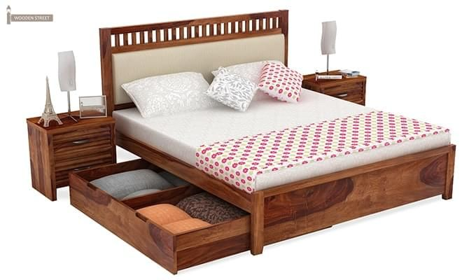 Javert Bed With Storage (King Size, Teak Finish)-4