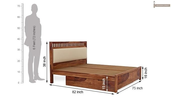 Javert Bed With Storage (King Size, Teak Finish)-7