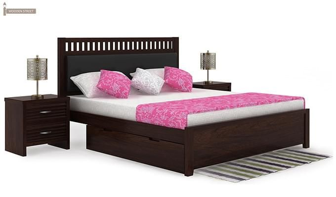 Javert Bed With Storage (Queen Size, Walnut Finish)-1