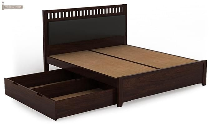 Javert Bed With Storage (Queen Size, Walnut Finish)-12