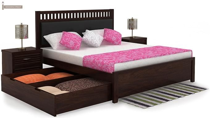 Javert Bed With Storage (Queen Size, Walnut Finish)-5