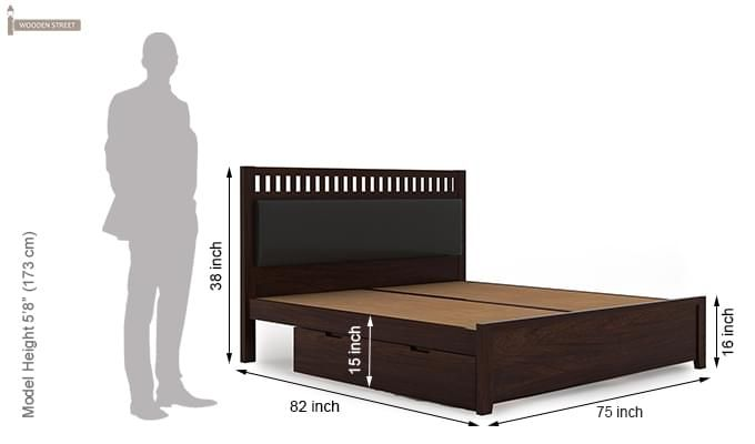 Javert Bed With Storage (King Size, Walnut Finish)-13
