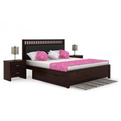 Javert Bed With Storage (Queen Size, Walnut Finish)