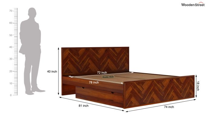 Jett Bed With Storage (King Size,Honey Finish)-9