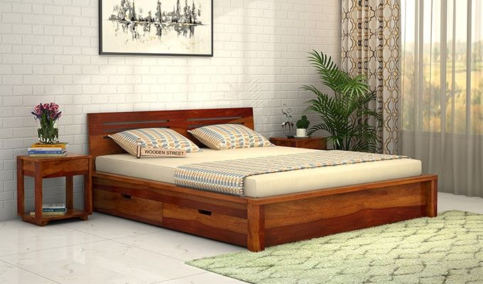 Lynet Bed With Side Storage (King Size, Honey Finish)-1