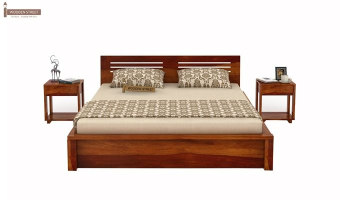 Lynet Bed With Side Storage (King Size, Honey Finish)-3