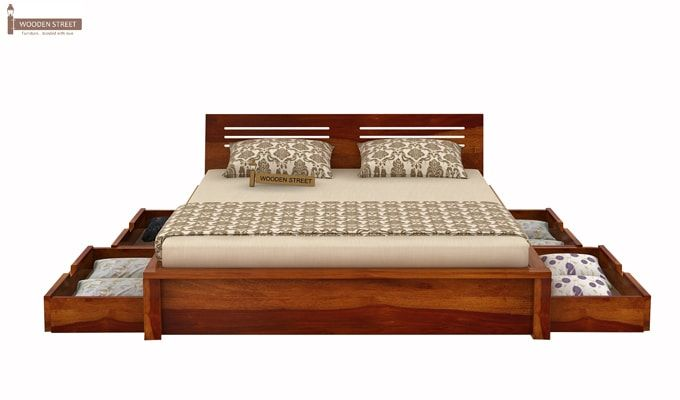 Lynet Bed With Side Storage (King Size, Honey Finish)-5