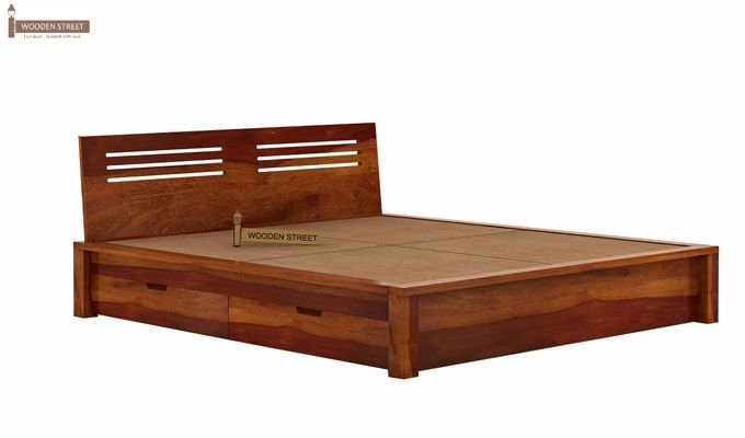 Lynet Bed With Side Storage (King Size, Honey Finish)-7