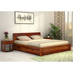 Lynet Bed With Side Storage (King Size, Honey Finish)