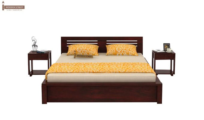 Lynet Bed With Side Storage (Queen Size, Mahogany Finish)-2