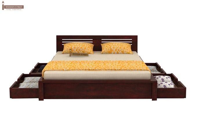 Lynet Bed With Side Storage (Queen Size, Mahogany Finish)-4