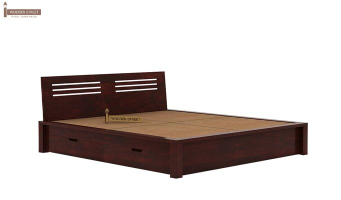 Lynet Bed With Side Storage (Queen Size, Mahogany Finish)-6