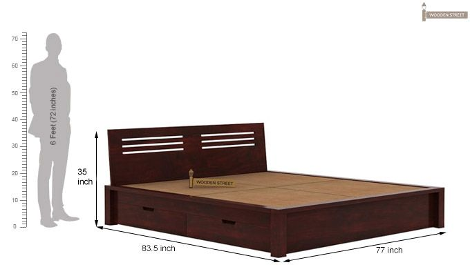 Lynet Bed With Side Storage (King Size, Mahogany Finish)-7
