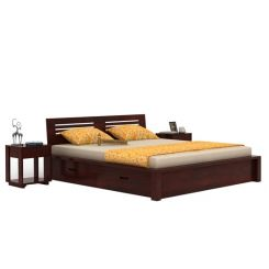 Lynet Bed With Side Storage (Queen Size, Mahogany Finish)