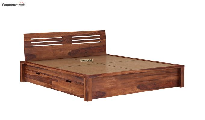 Lynet Bed With Side Storage (Queen Size, Honey Finish)-7