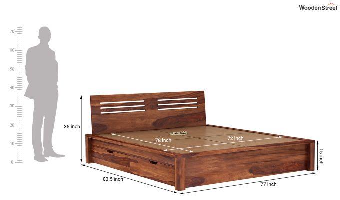 Lynet Bed With Side Storage (King Size, Honey Finish)-8