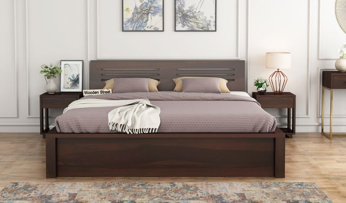Lynet Bed With Side Storage (Queen Size, Walnut Finish)-2