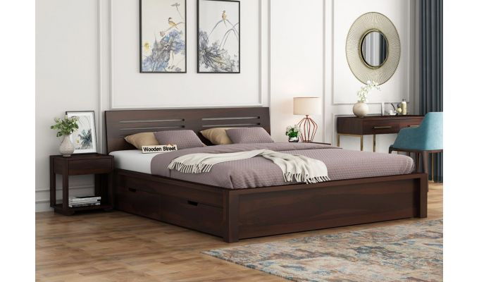 Lynet Bed With Side Storage (Queen Size, Walnut Finish)-1