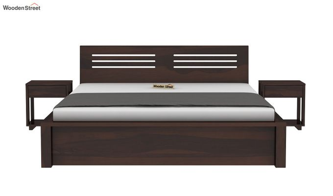 Lynet Bed With Side Storage (Queen Size, Walnut Finish)-4