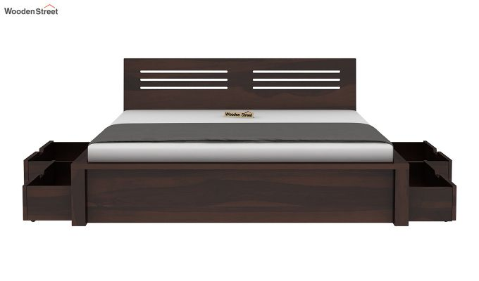 Lynet Bed With Side Storage (Queen Size, Walnut Finish)-6