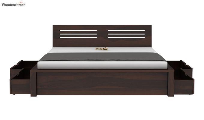 Lynet Bed With Side Storage (King Size, Walnut Finish)-6