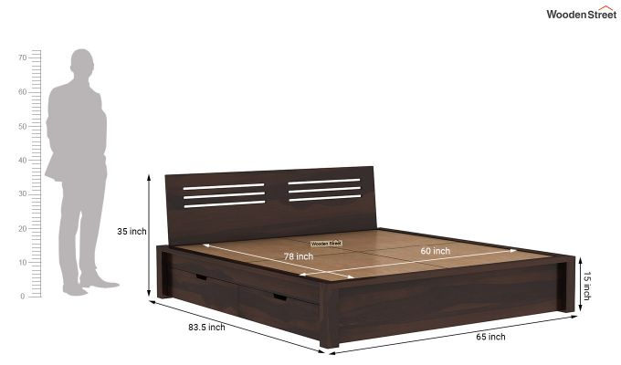 Lynet Bed With Side Storage (Queen Size, Walnut Finish)-8