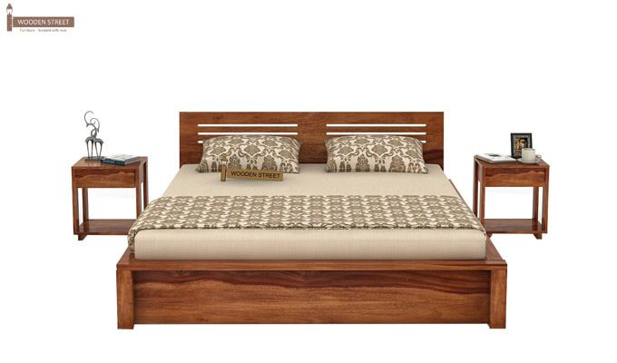 Lynet Bed With Side Storage (Queen Size, Teak Finish)-2