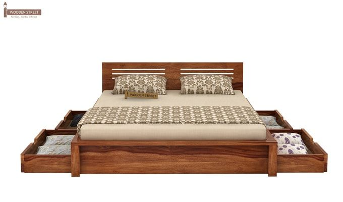 Lynet Bed With Side Storage (Queen Size, Teak Finish)-5