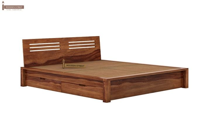 Lynet Bed With Side Storage (Queen Size, Teak Finish)-6