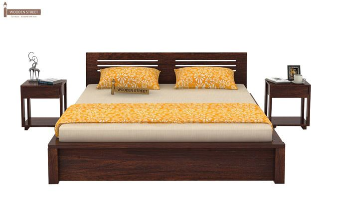 Lynet Bed With Side Storage (King Size, Walnut Finish)-2