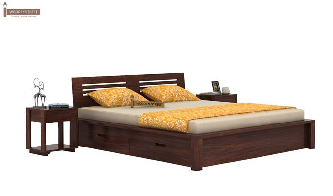 Lynet Bed With Side Storage (King Size, Walnut Finish)-1
