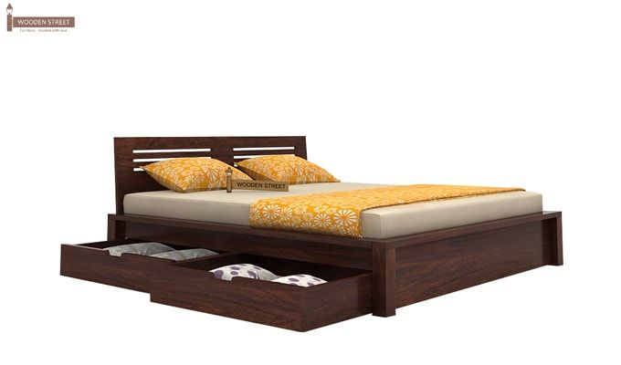 Lynet Bed With Side Storage (King Size, Walnut Finish)-4