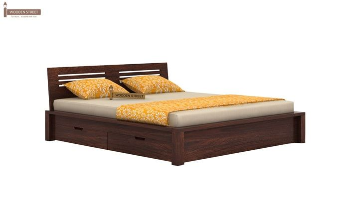 Lynet Bed With Side Storage (King Size, Walnut Finish)-3